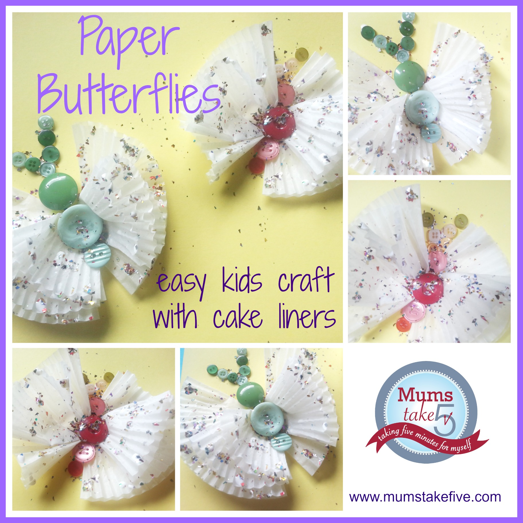 Butterfly craft for kids with paper cake liners paper butterfly kids easy craft paper cupcake liners jeuxipadfo Gallery