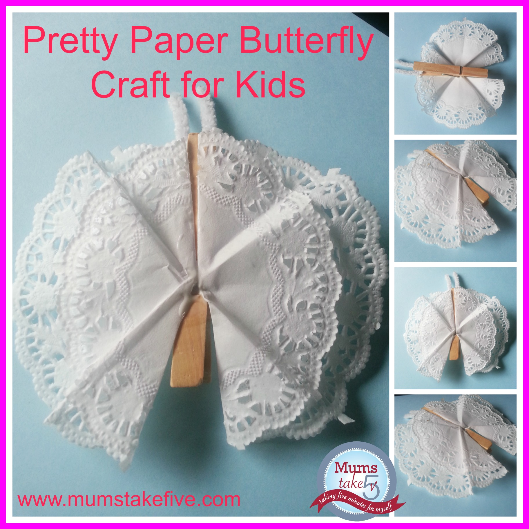Paper peg craft for kids paper doily butterfly craft jeuxipadfo Images