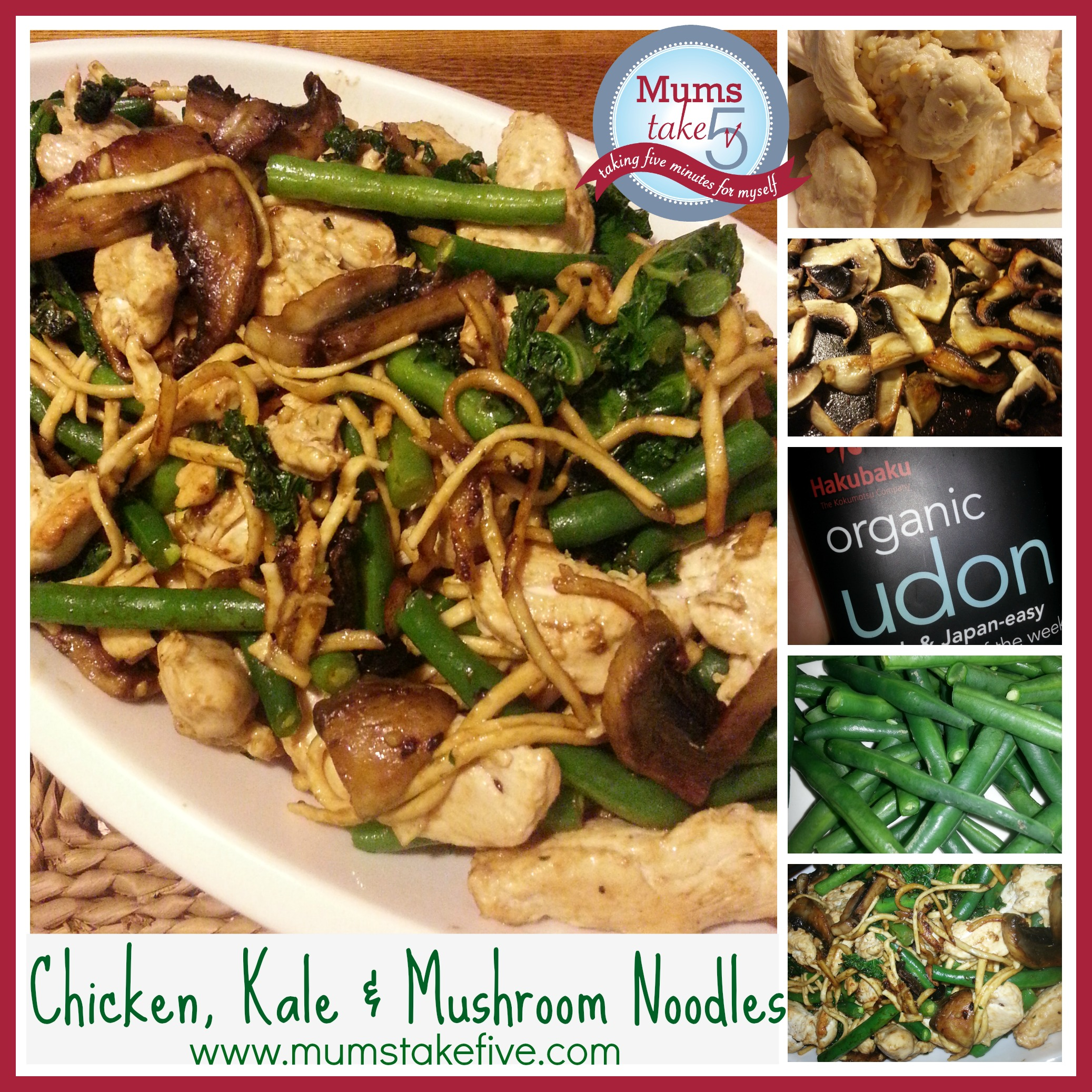Chicken Kale and Mushroom Noodles