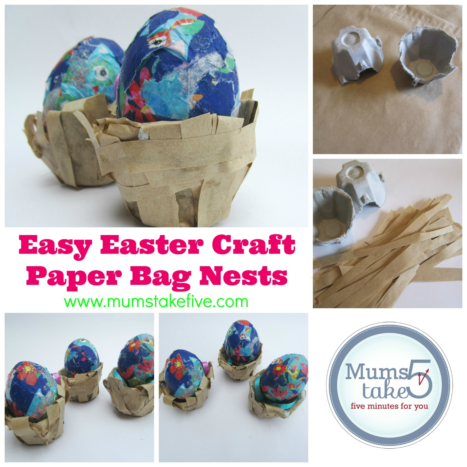 Easterbrownpapernestcollageg you will need easter easy craft brown paper bag nests jeuxipadfo Gallery