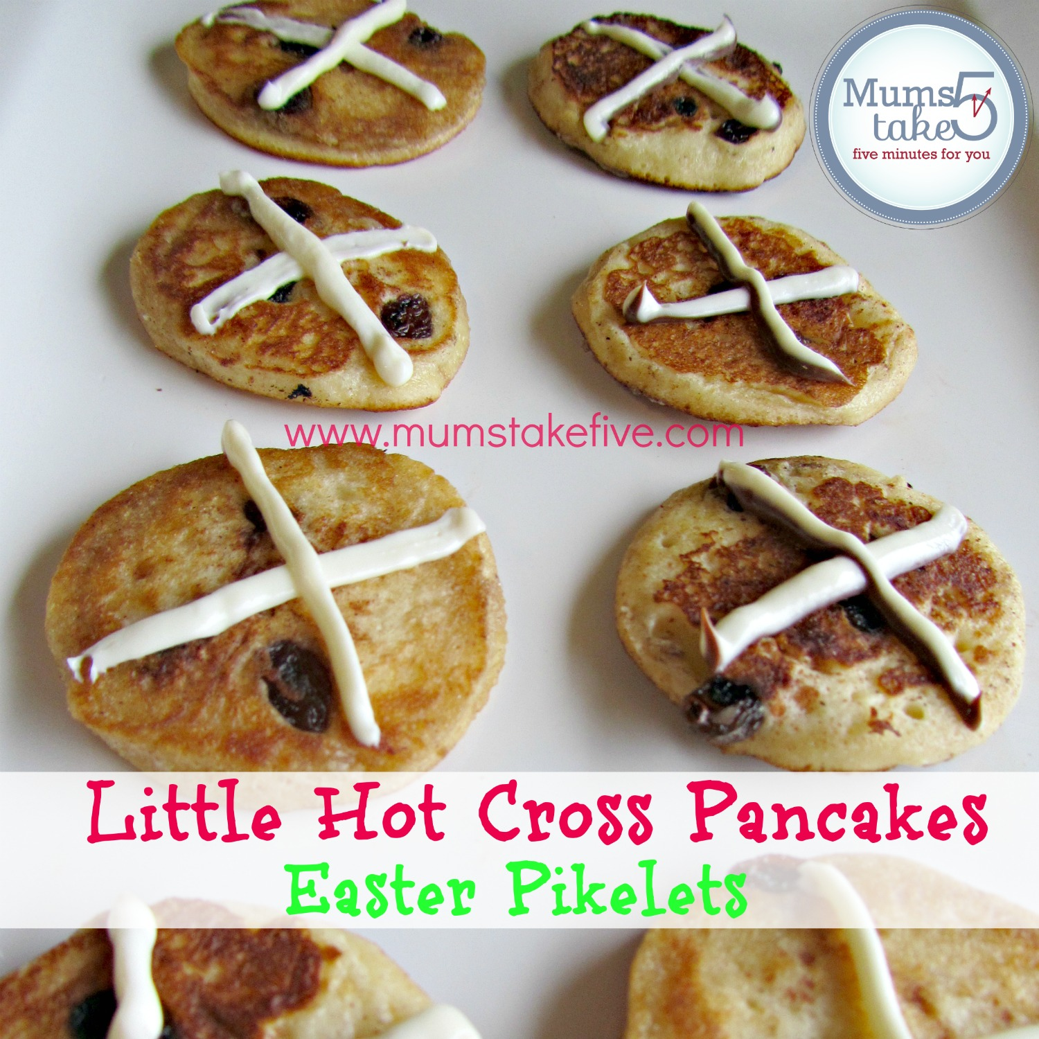 easter pikelets - little hot cross pancakes