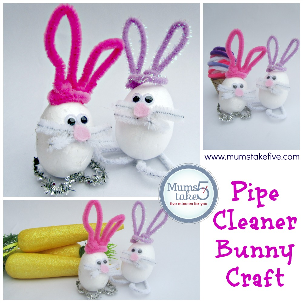 Easter bunny pipe cleaner craft for Easter crafts pipe cleaners