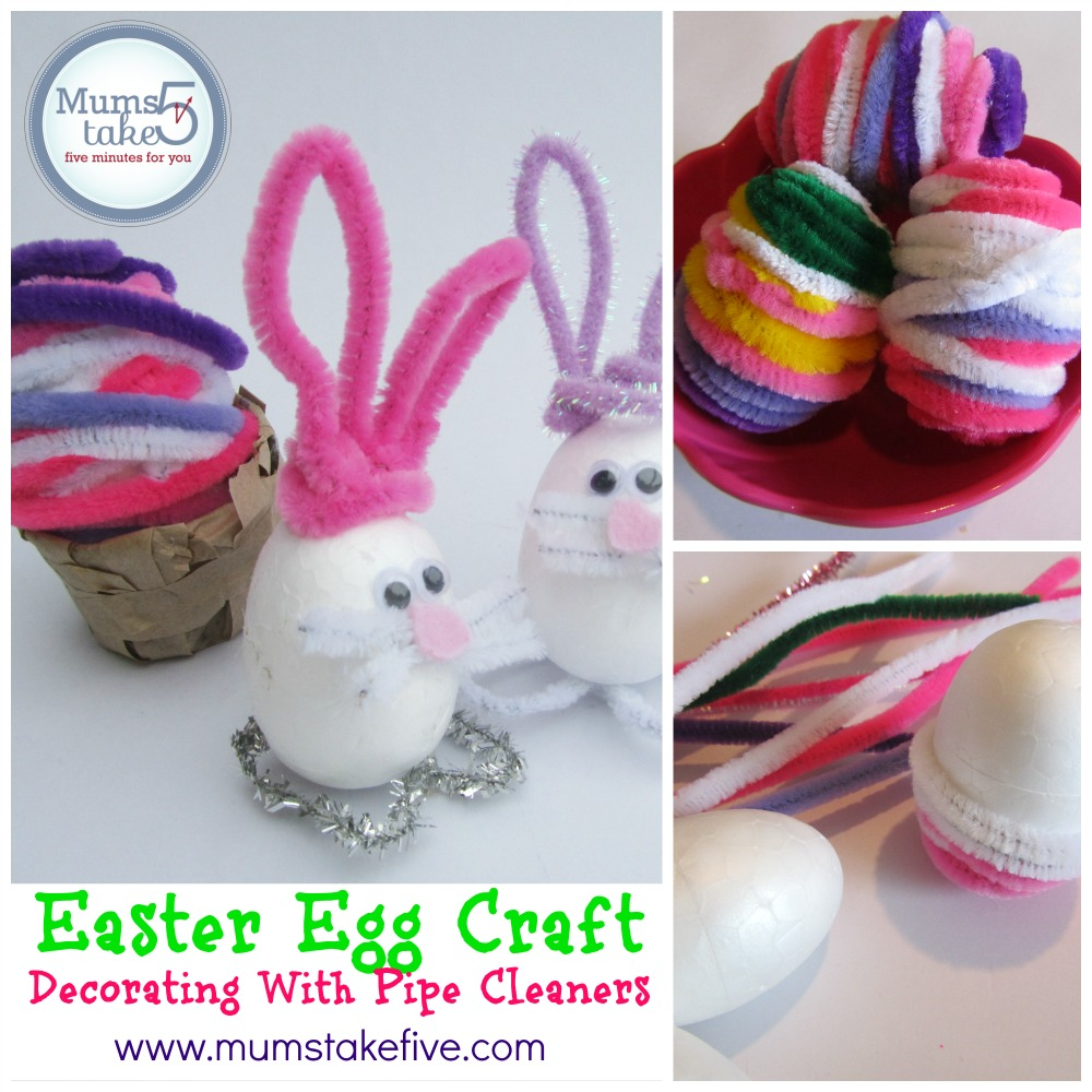 Easter egg craft decorating with pipe cleaners for Easter crafts pipe cleaners