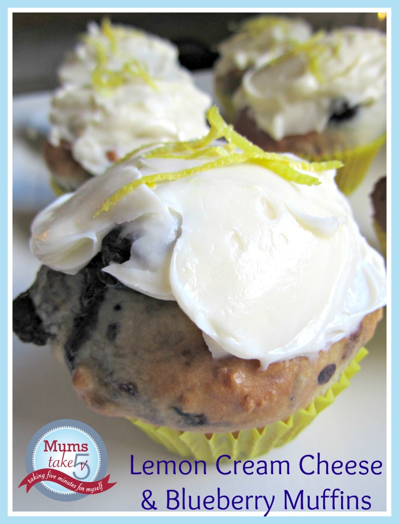 Lemon Cream Cheese and Blueberry Muffins