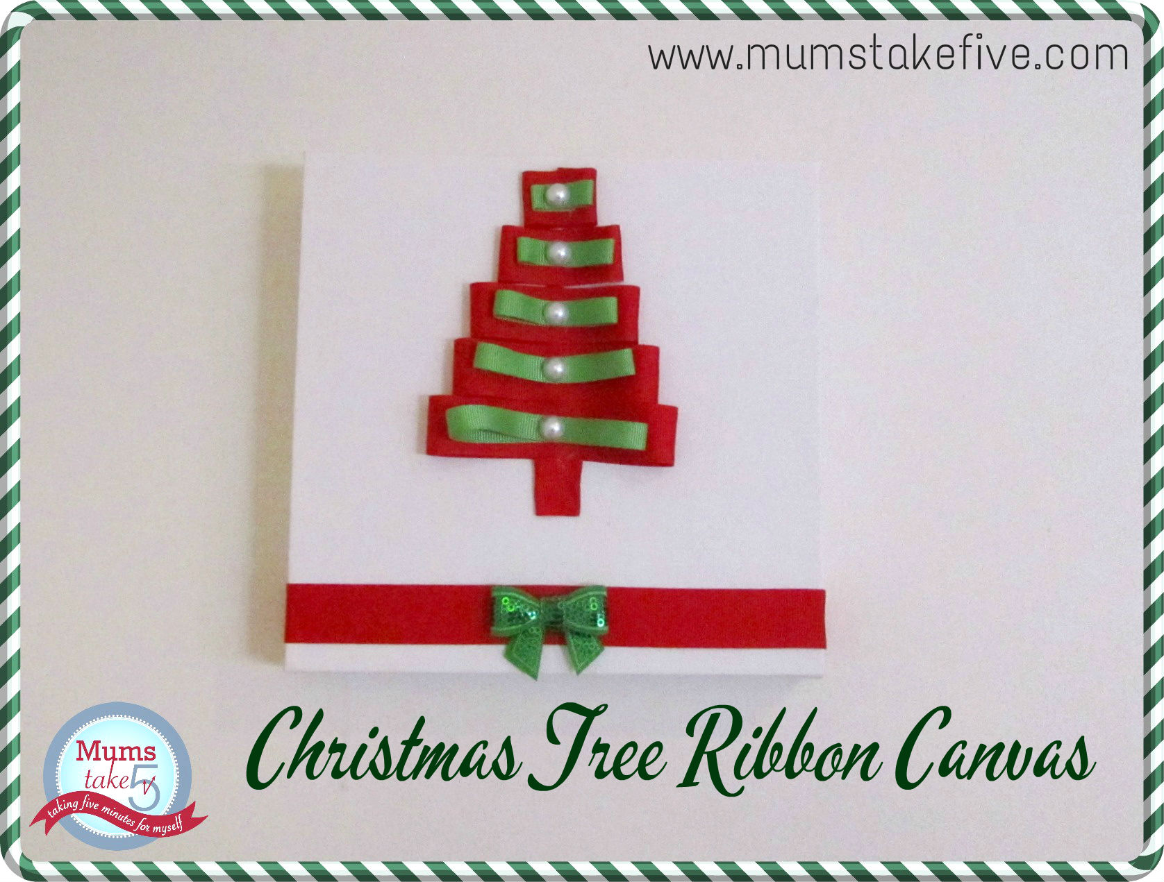 Christmas Craft Ribbon Tree Canvas