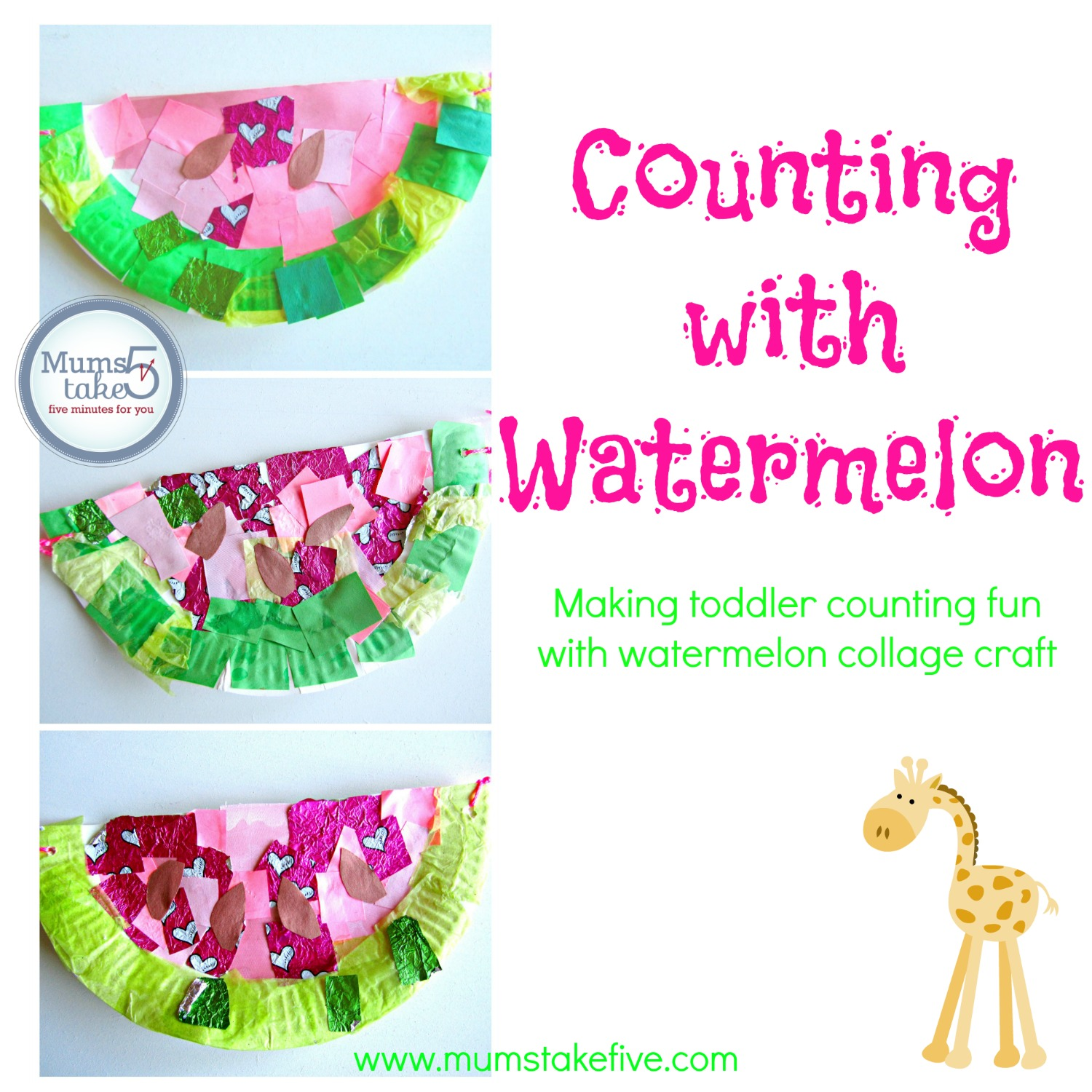easy kids craft. preschool counting craft with watermelons