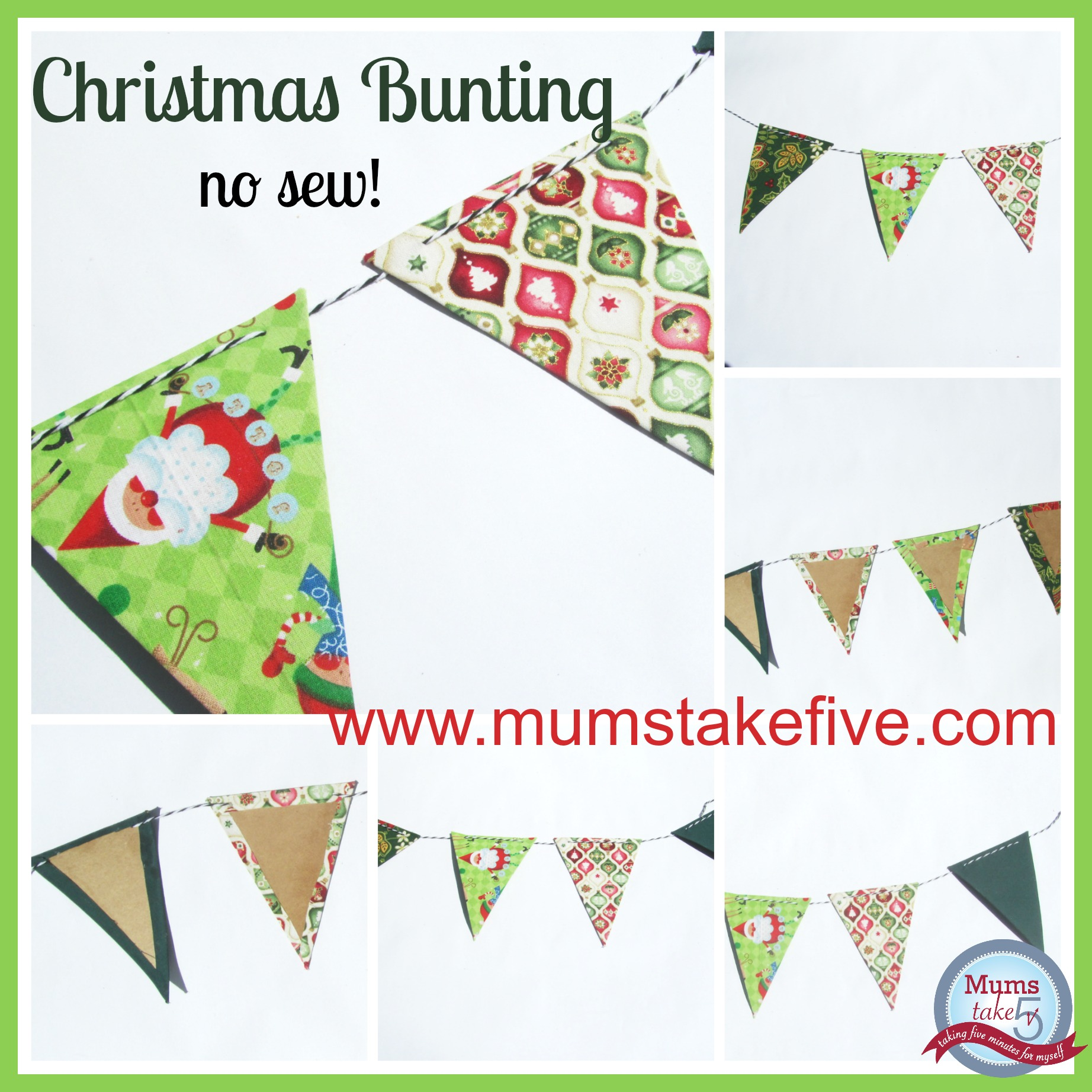Christmas No Sew Bunting Craft
