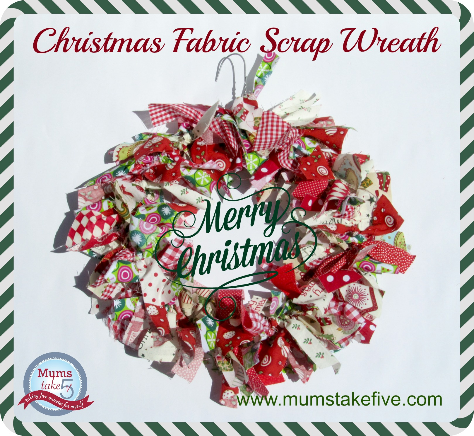 Christmas Fabric Scrap Wreath