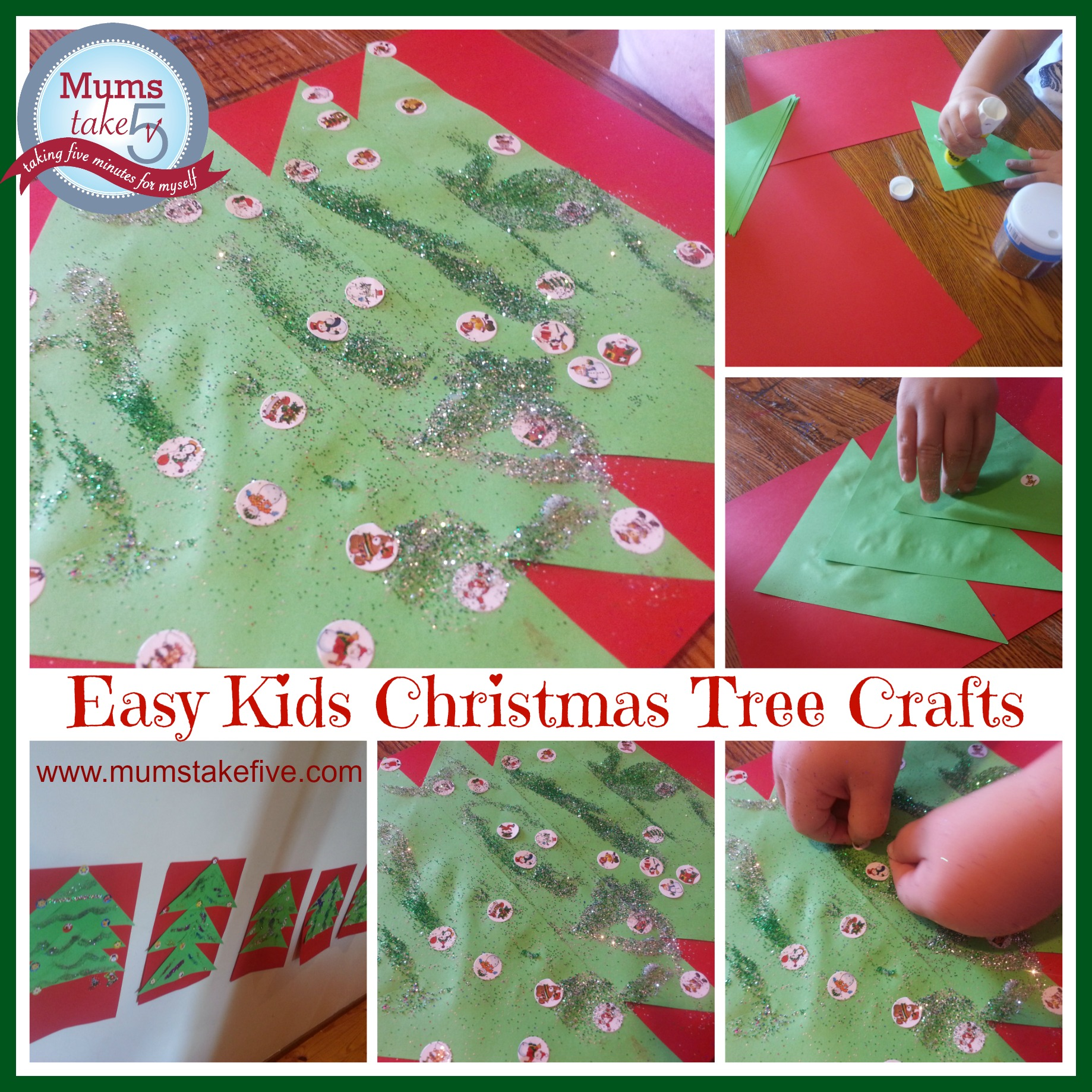 Four Paper Christmas Tree Kids Crafts