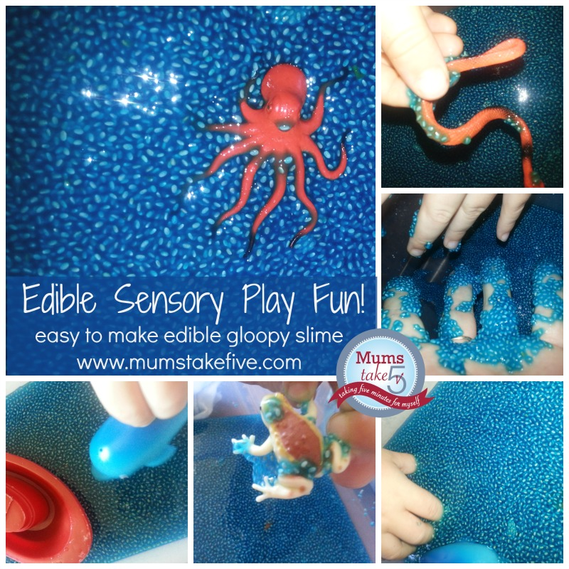 Edible Sensory play for kids, water bead play for early learning.