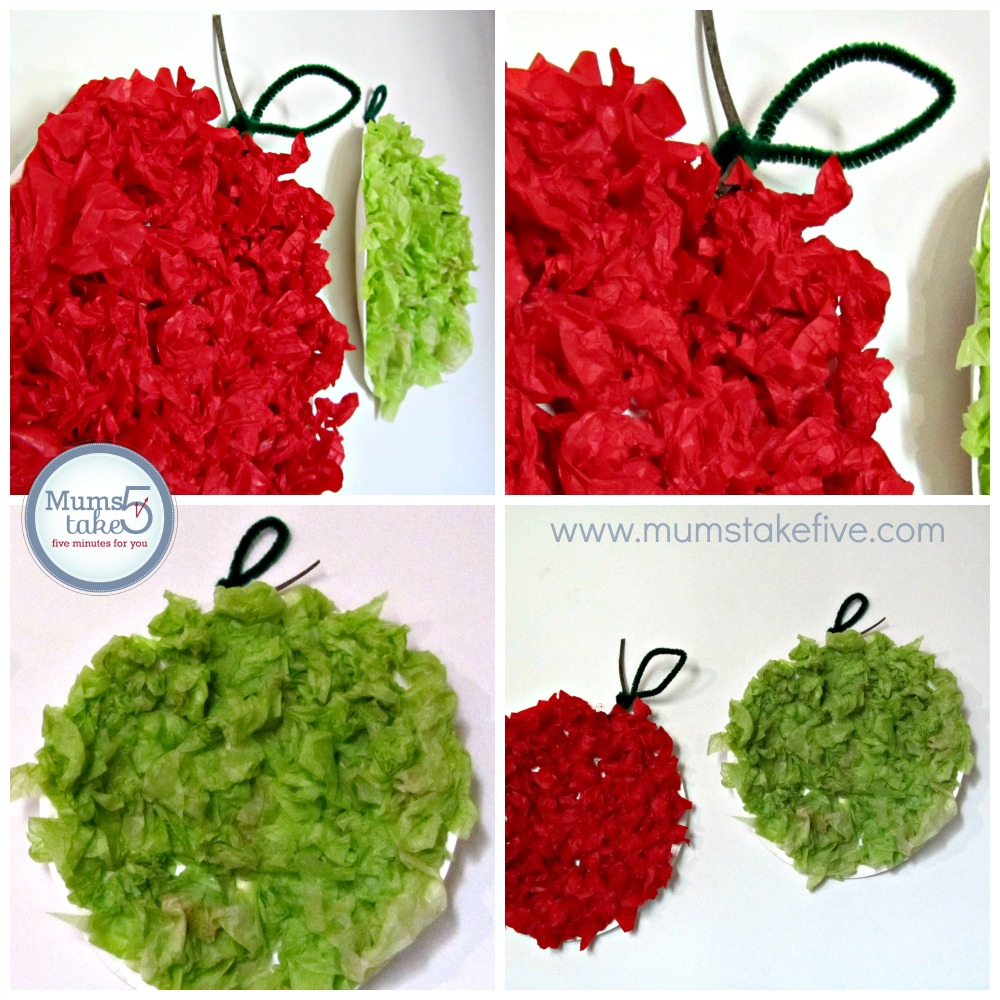 Paper Plate and Tissue Paper Apple Craft
