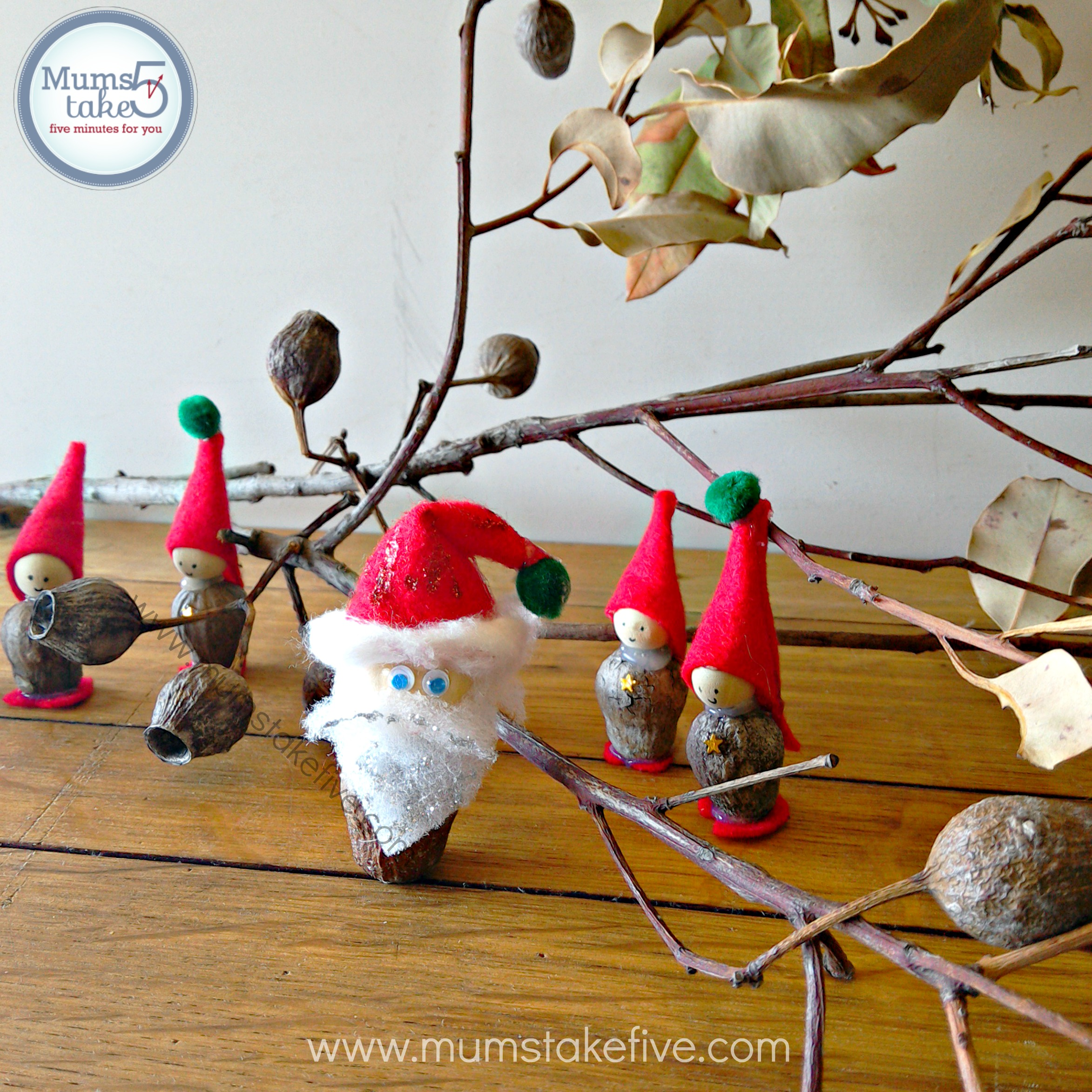Gum Nut Christmas Craft Santa