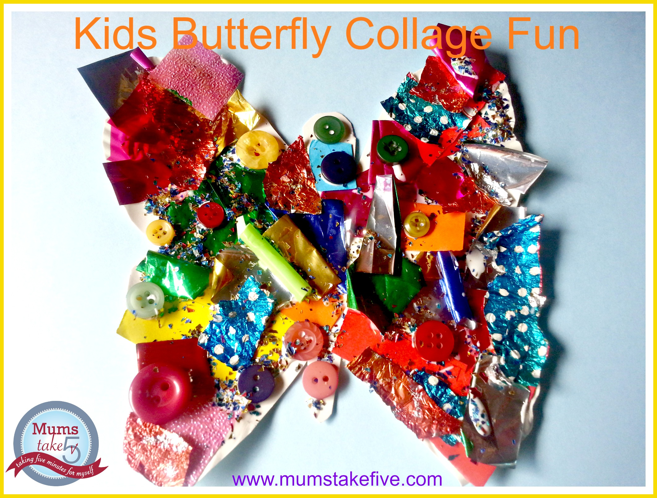 Butterfly Rainbow Collage Craft for kids