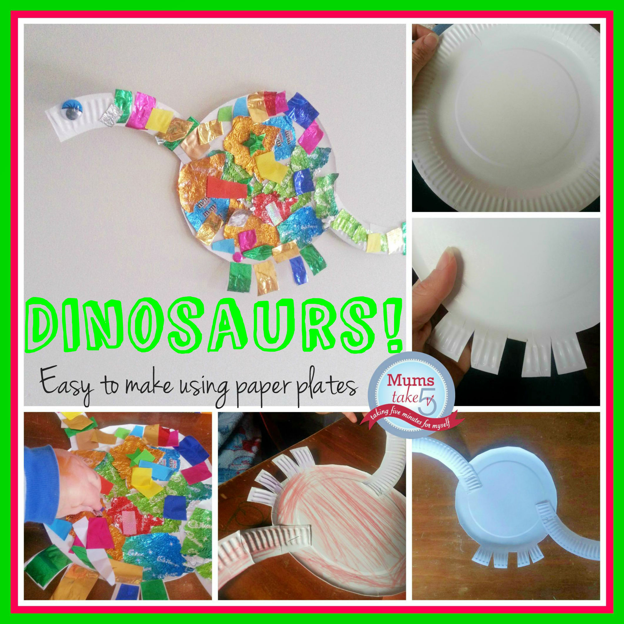 Dinosaurs kids craft easy kids craft paper plates  sc 1 st  Mums Take Five & Dinosaur Easy Kids Craft
