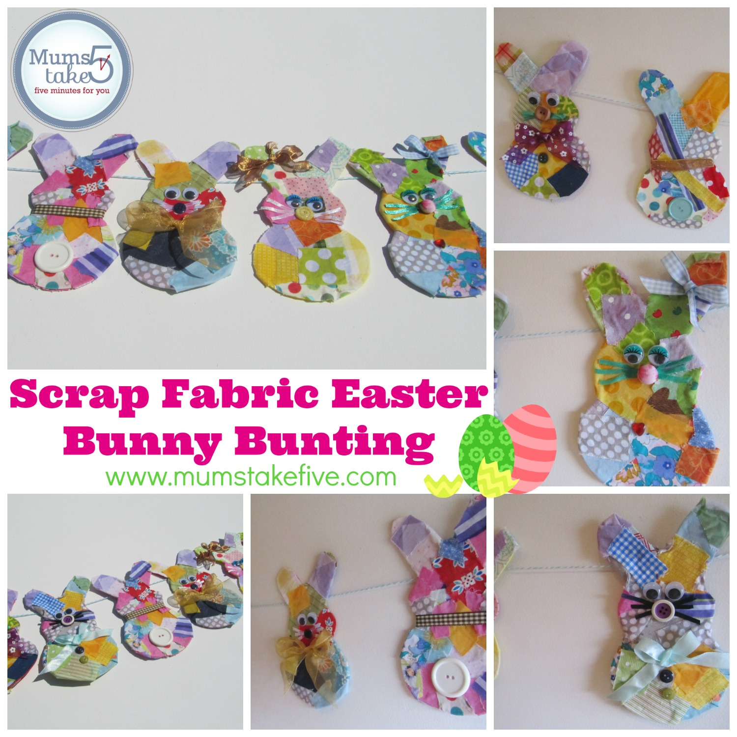 easter scrap fabric bunny bunting