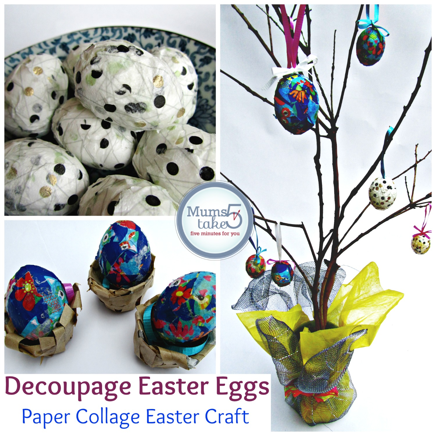 Easter Craft Beautiful Decoupaged Easter Eggs
