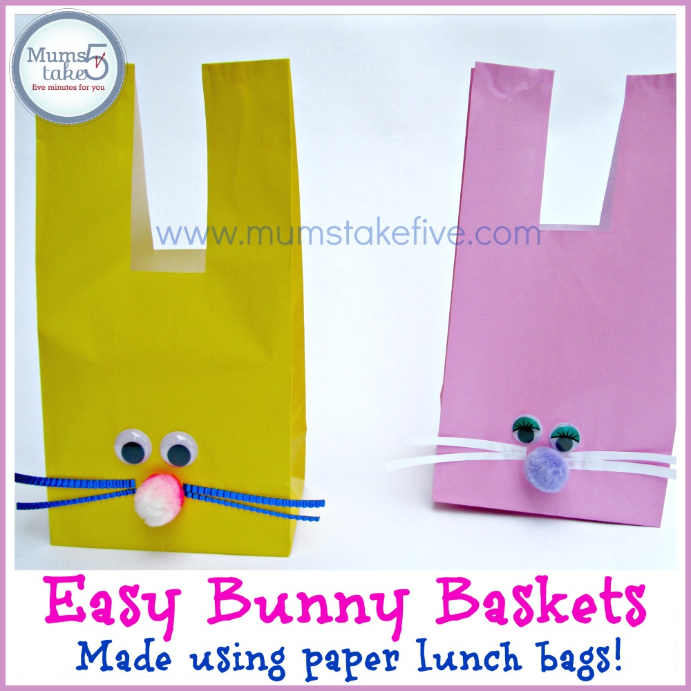 Easter Craft Paper Bag Basket Bunny