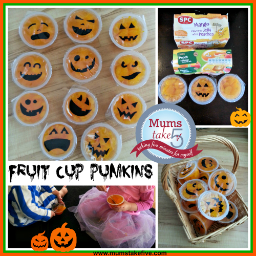 halloween snacks  fuit cup pumpkin treats