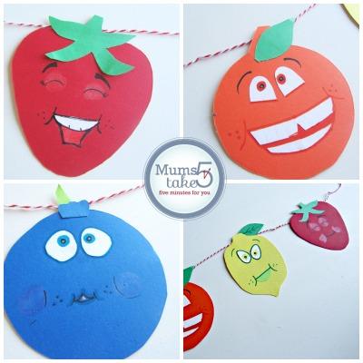 crafts ideas for kids fruity character garland craft 4142