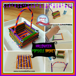Halloweeen preschool craft popsicle basket