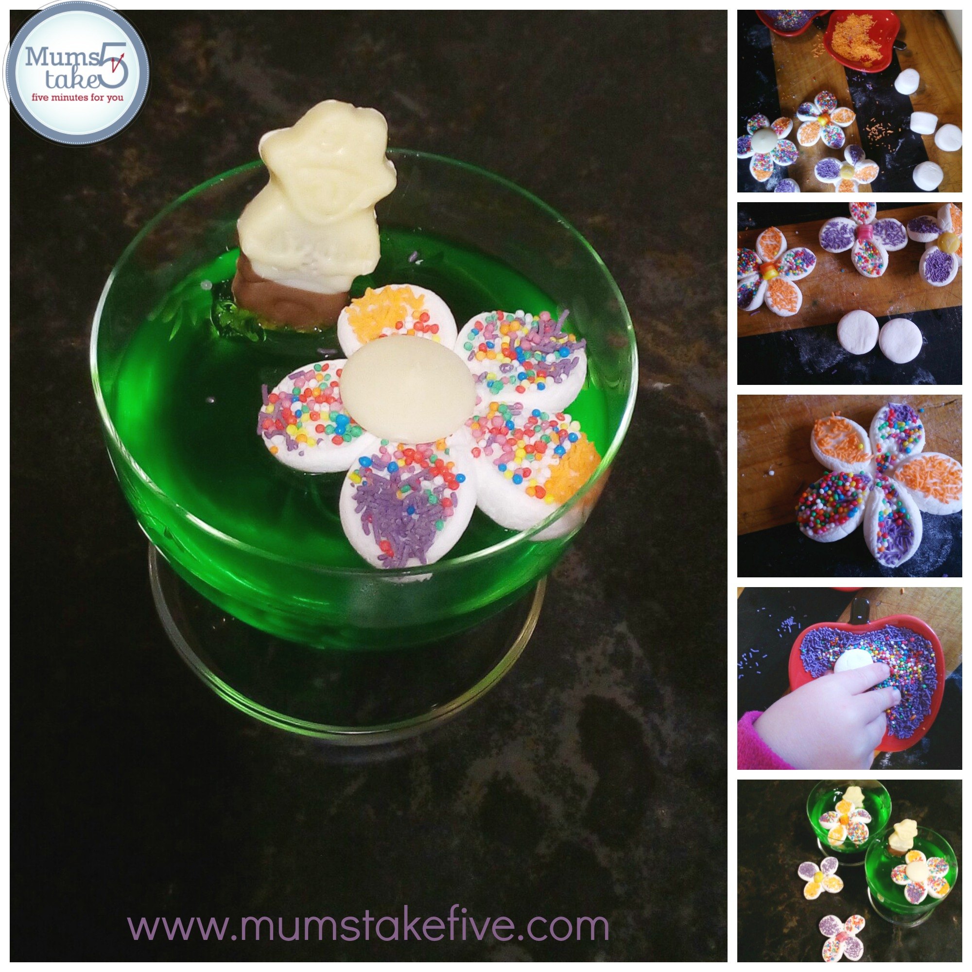 Marshmallow flowers and Jelly Treat