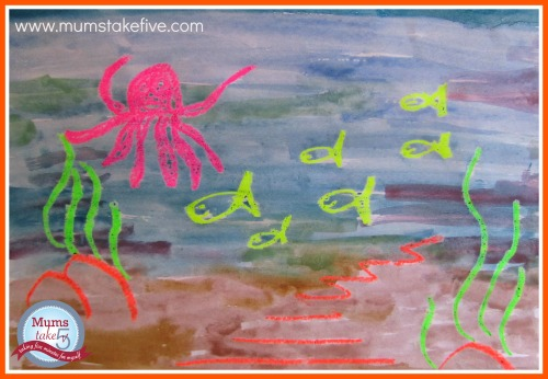 ocean crayon painting toddler craft easy kids craft