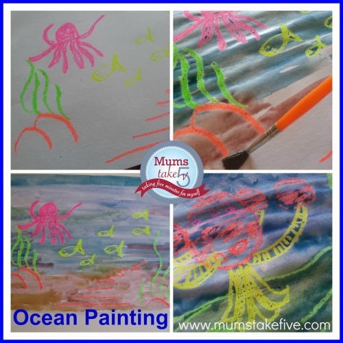 Ocean Crayon Painting Ocean Theme Crafts