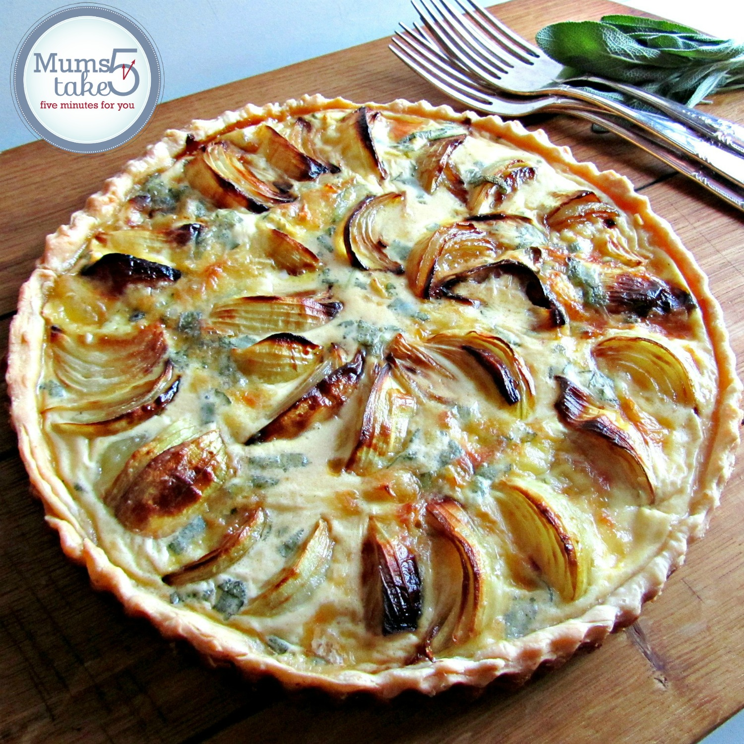 Onion Tart  with Blue Brie and Sage