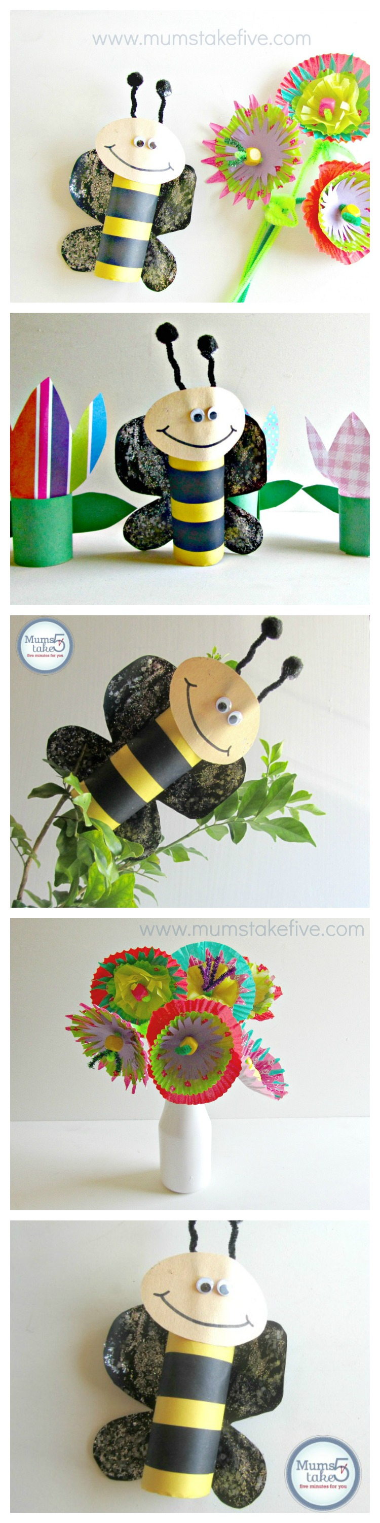 Paper Roll Bees Craft and Paper Flowers