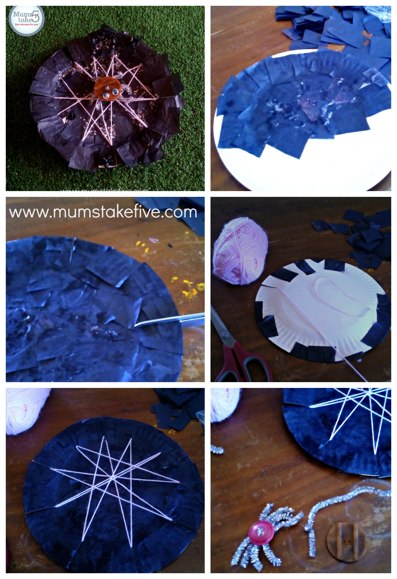 Halloween Paper Plate Spider Web Craft