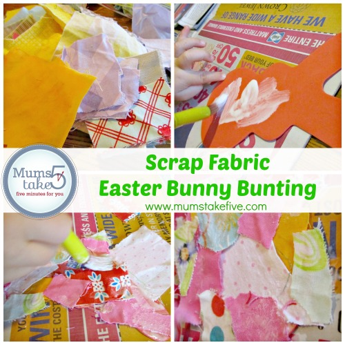 scrap fabric bunny bunting for easter