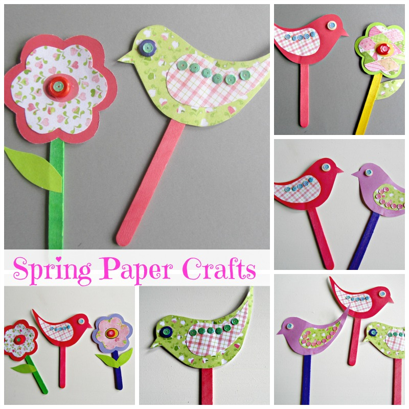 Flowers paper craft spring paper bird craft mightylinksfo Choice Image