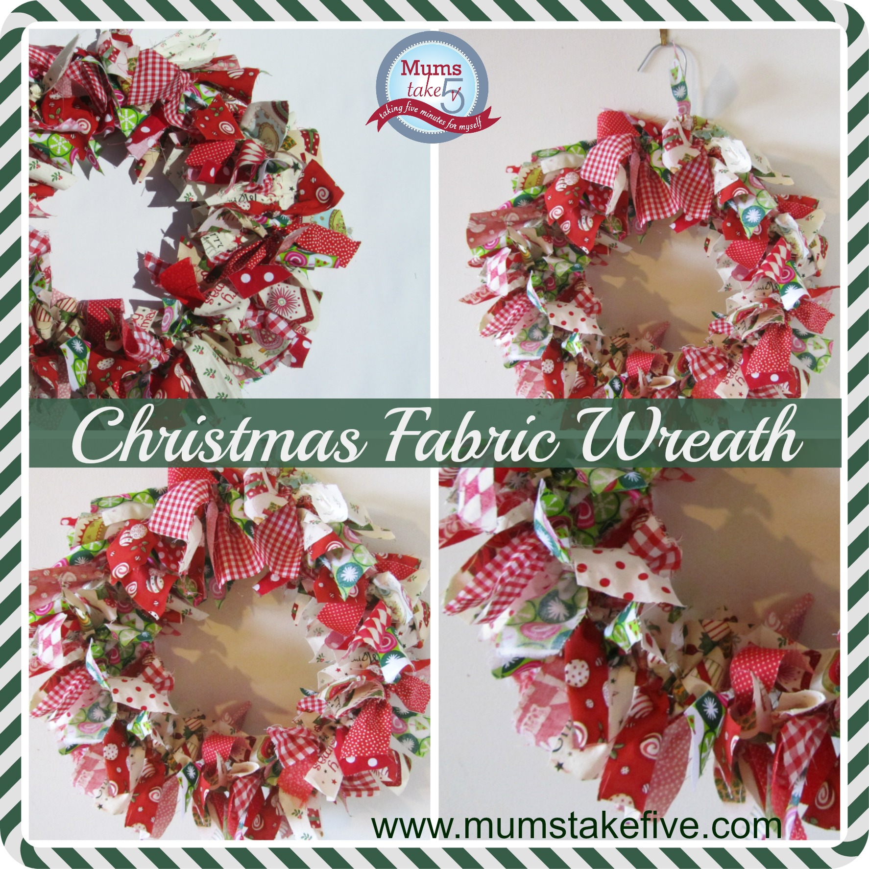 fabric scrap budget christmas wreath